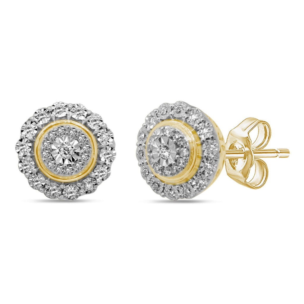 Brilliant Miracle Double Halo Earrings with 1/5ct of Diamonds in 9ct Yellow Gold Earrings Bevilles