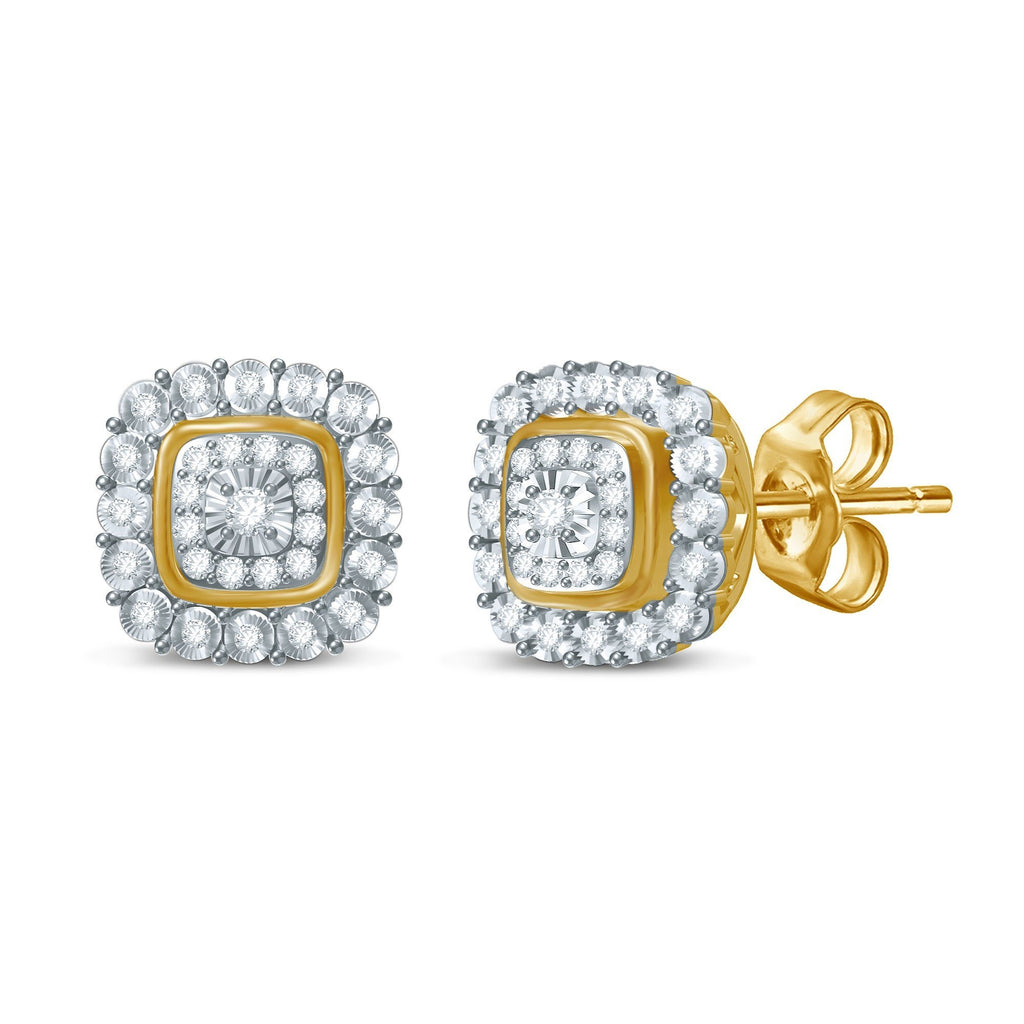 Miracle Halo Bezel Square Look Earrings with 1/5ct of Diamonds in 9ct Yellow Gold Earrings Bevilles
