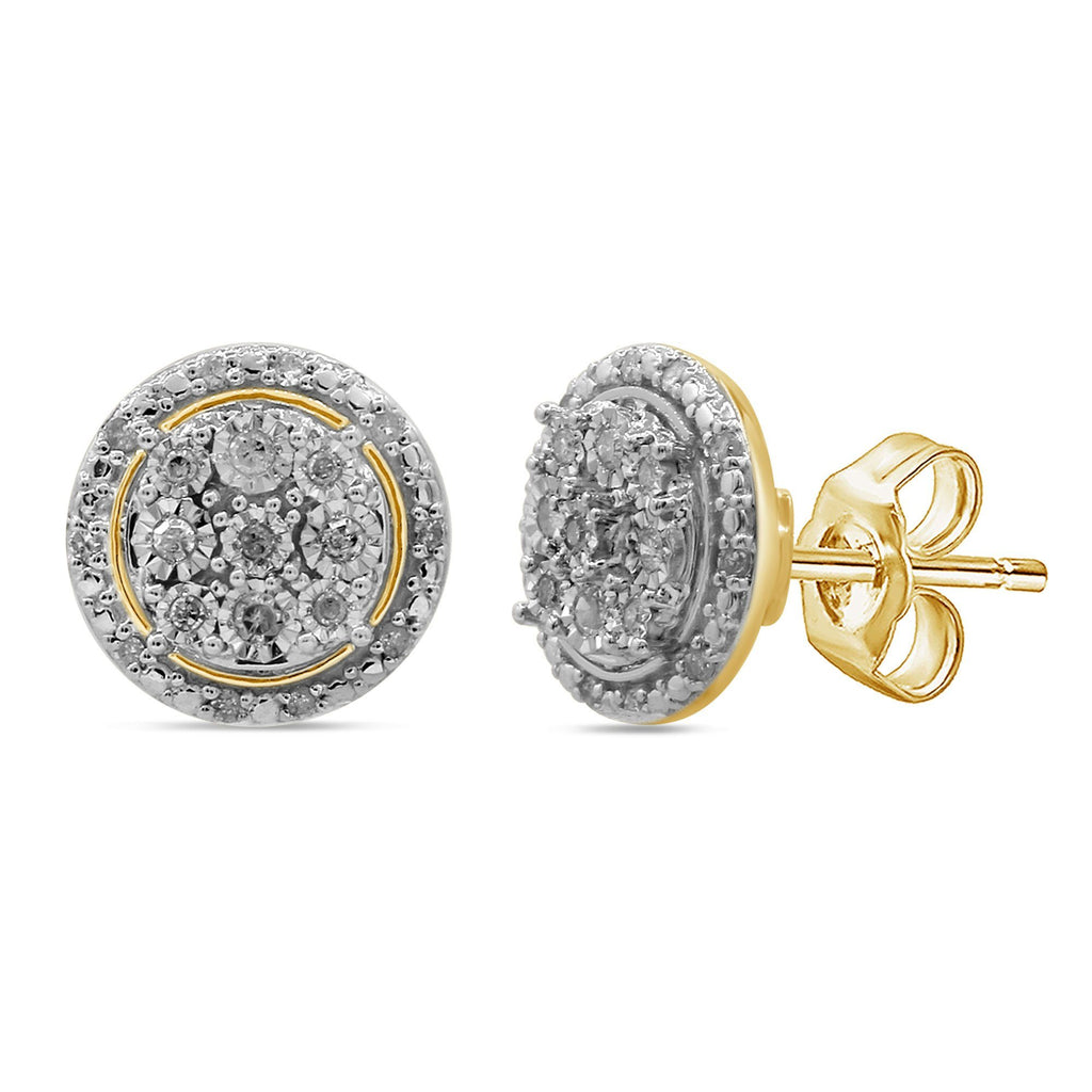 Halo Stud Earrings with 1/5ct of Diamonds in 9ct Yellow Gold Earrings Bevilles