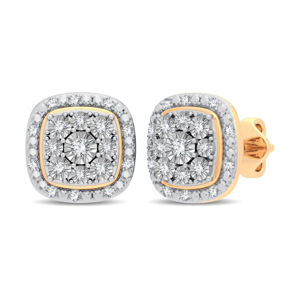 Cushion Shape Halo Stud Earrings with 1/5ct of Diamonds in 9ct Yellow Gold Earrings Bevilles
