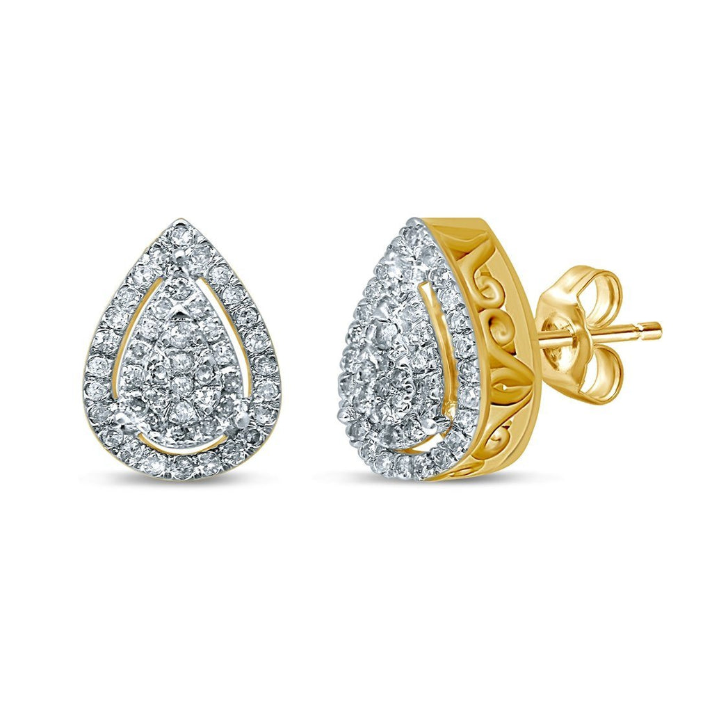 9ct Yellow Gold 0.25ct Diamond Pear Shaped Stud Earrings