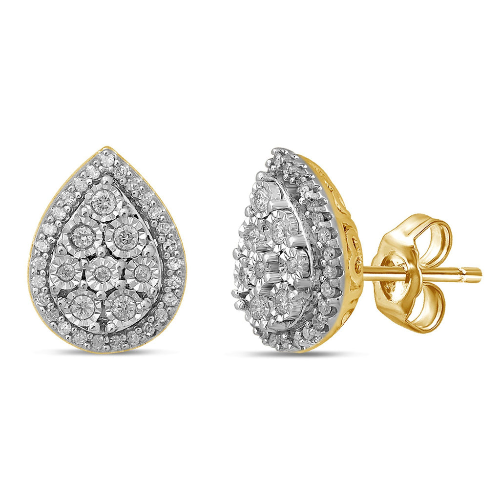 Brilliant Claw Pear Shape Stud Earrings with 0.25ct of Diamonds in 9ct Yellow Gold Earrings Bevilles