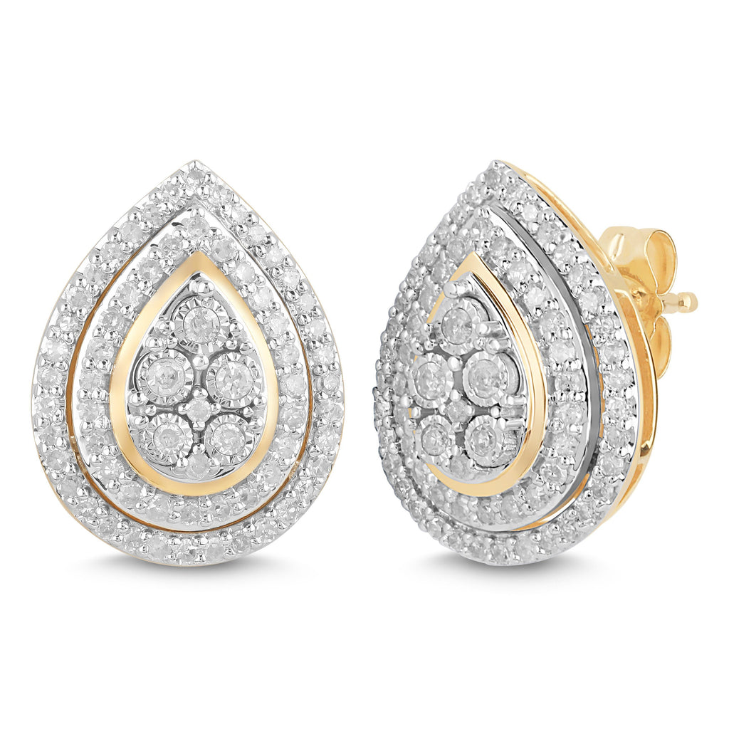 Double Halo Pear Stud Earrings with 1/2ct of Diamonds in 9ct Yellow Gold Earrings Bevilles