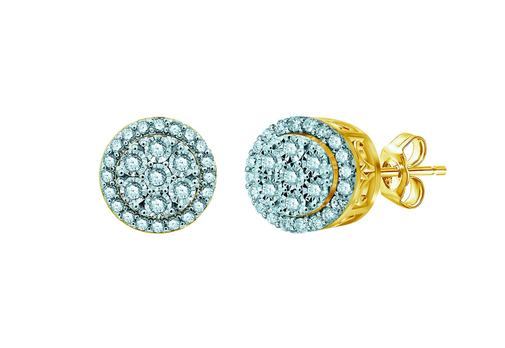 Miracle stud earrings with 1/2ct of Diamonds in 9ct Yellow Gold Earrings Bevilles