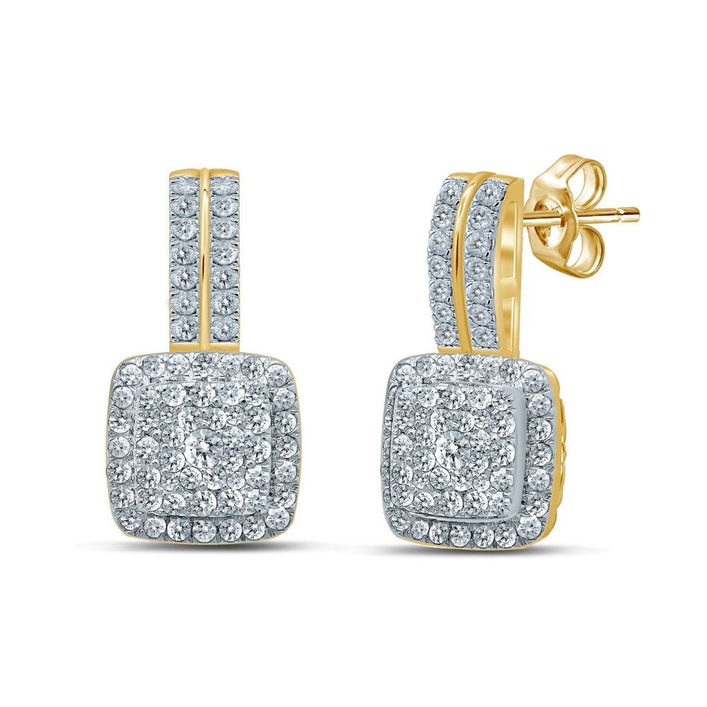 Double Drop Earrings with 1/2ct of Diamonds in 9ct Yellow Gold Earrings Bevilles