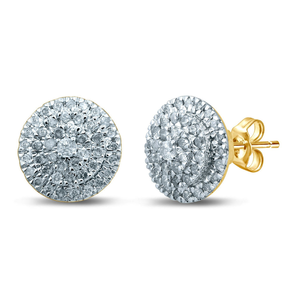 Brilliant Halo Stud Earrings with 1/2ct of Diamonds in 9ct Yellow Gold