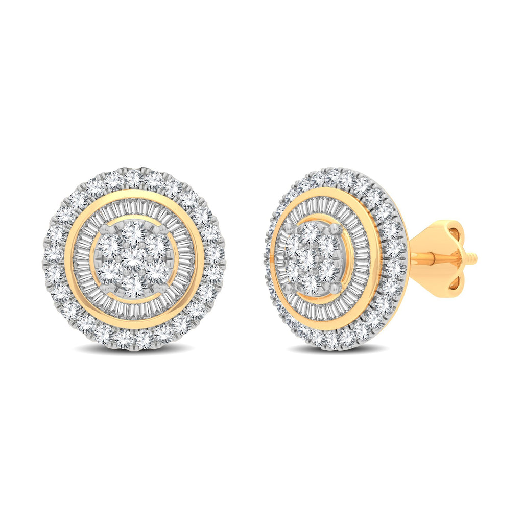 Halo Stud Earrings with 3/4ct of Diamonds in 9ct Yellow Gold Earrings Bevilles
