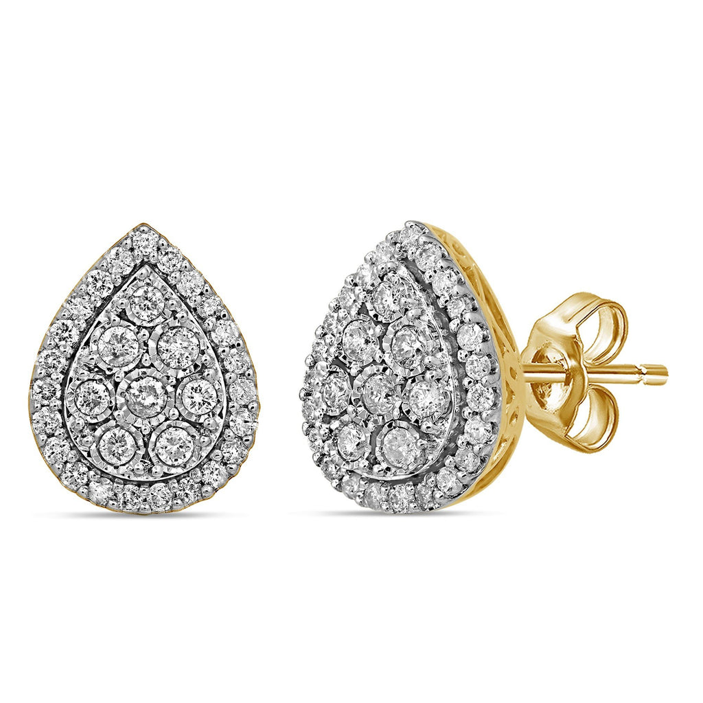 Miracle Pear Shape Halo Earrings with 3/4ct of Diamonds in 9ct Yellow Gold Earrings Bevilles