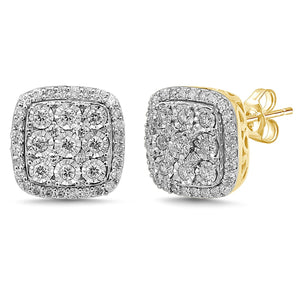 Miracle Halo Square Stud Earrings with 3/4ct of Diamonds in 9ct Yellow Gold