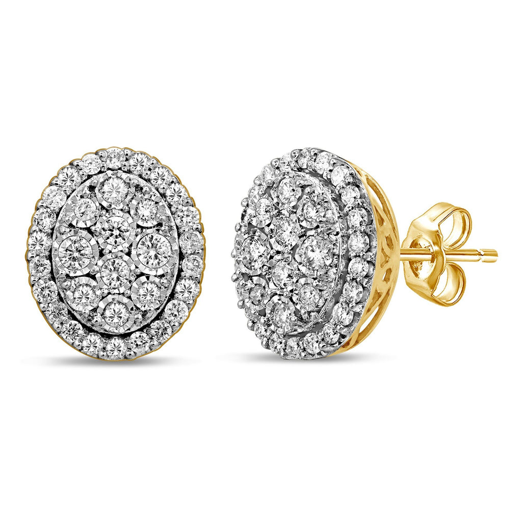 Miracle Halo Oval Stud Earrings with 3/4ct of Diamonds in 9ct Yellow Gold Earrings Bevilles