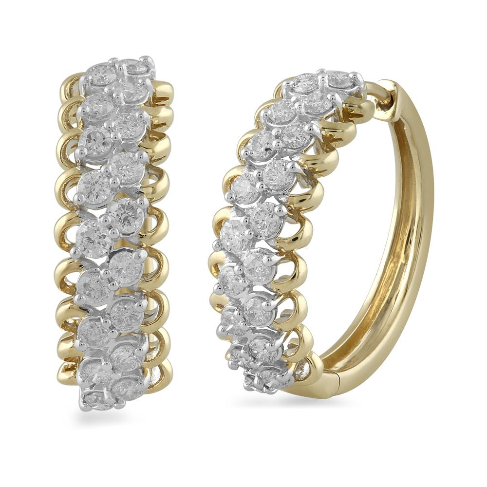 Brilliant Claw Multi Row Hoop Earrings with 1.00ct of Diamonds in 9ct Yellow Gold Earrings Bevilles