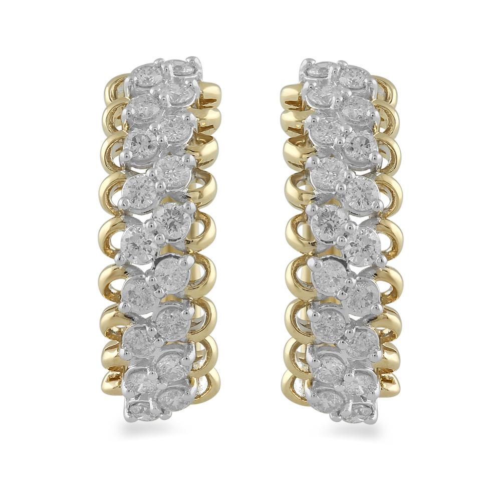 Brilliant Claw Multi Row Hoop Earrings with 1.00ct of Diamonds in 9ct Yellow Gold