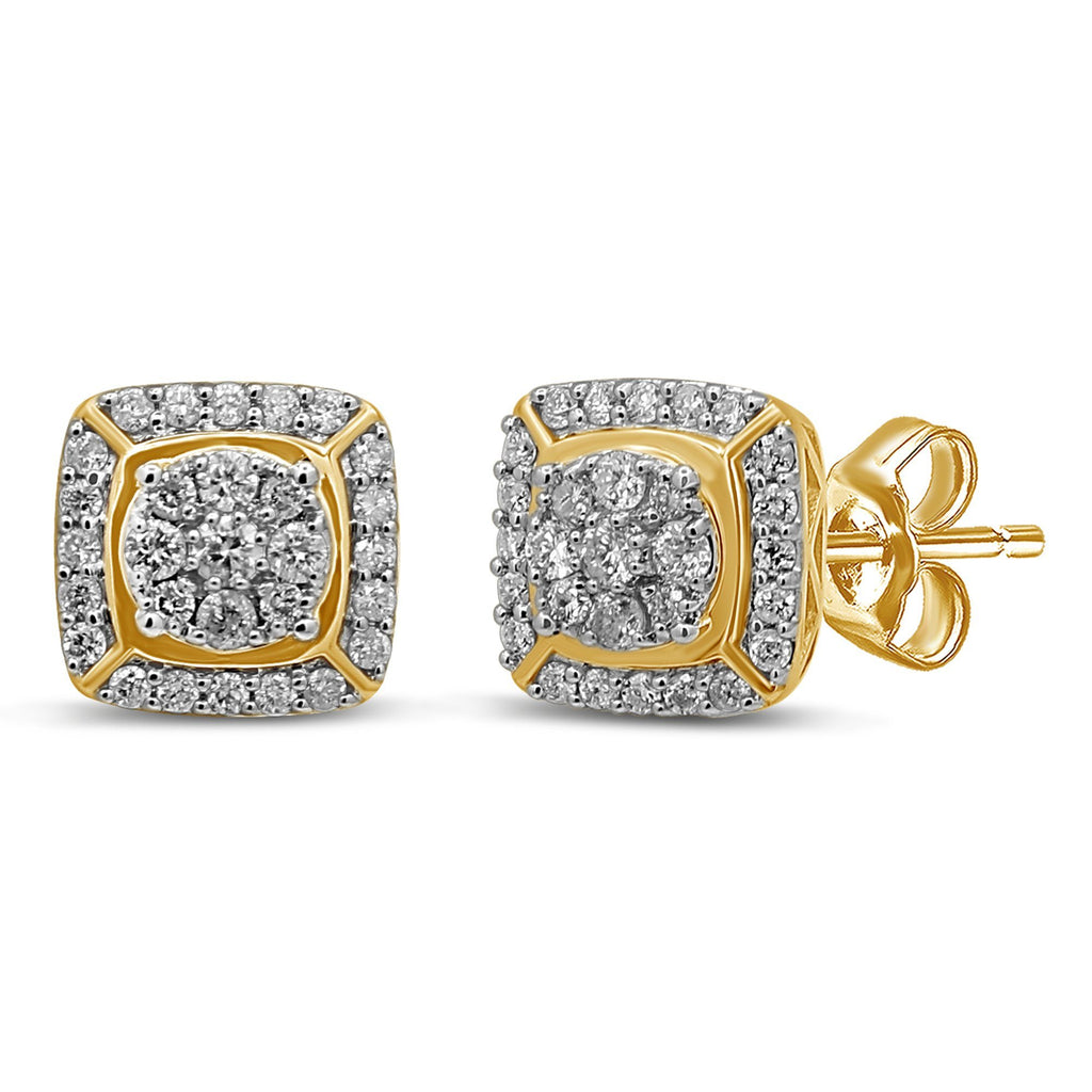 Brilliant Halo Square Look Stud Earrings with 1.00ct of Diamonds in 9ct Yellow Gold Earrings Bevilles
