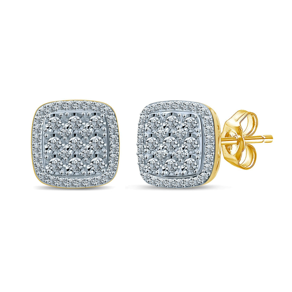 Brilliant Square Halo Earrings with 1.00ct of Diamonds in 9ct Yellow Gold Earrings Bevilles