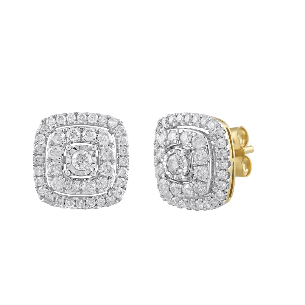 Brilliant Solitaire Halo Square Stud Earrings with 1.00ct of Diamonds in 9ct Yellow Gold