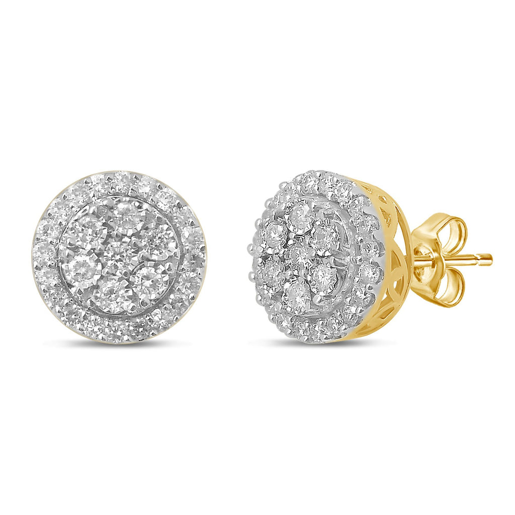 Brilliant Miracle Halo Stud Earrings with 1.00ct of Diamonds in 9ct Yellow Gold Earrings Bevilles