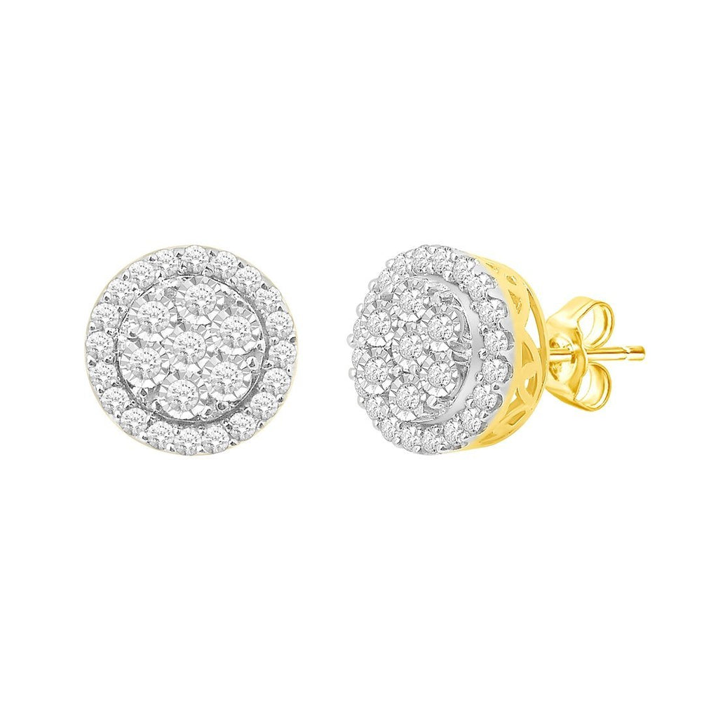 9ct Yellow Gold 1.00ct Brilliant Diamond Stud Earrings