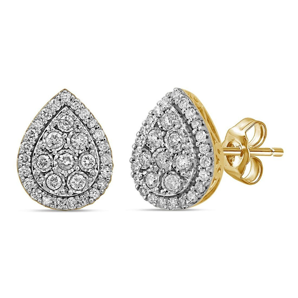 9ct Yellow Gold Pear Shape Halo Earrings with 1.00ct of Diamonds