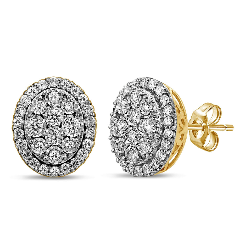 Brilliant Miracle Halo Stud Earrings with 1.00ct of Diamonds in 9ct Yellow Gold