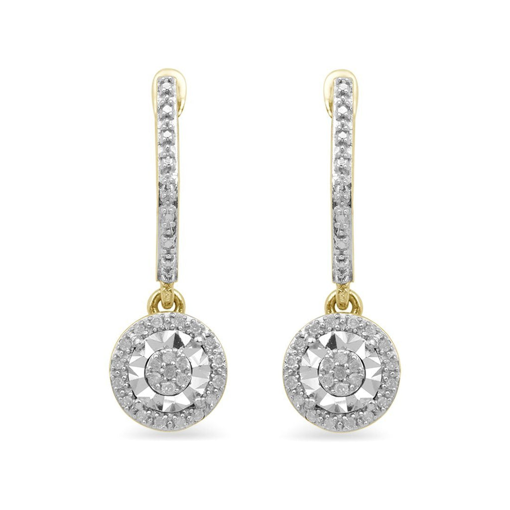 9ct Yellow Gold 0.10ct Diamond Brilliant Illusion Drop Earrings