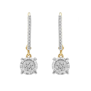 9ct Yellow Gold 0.20ct Diamond Miracle Drop Earrings