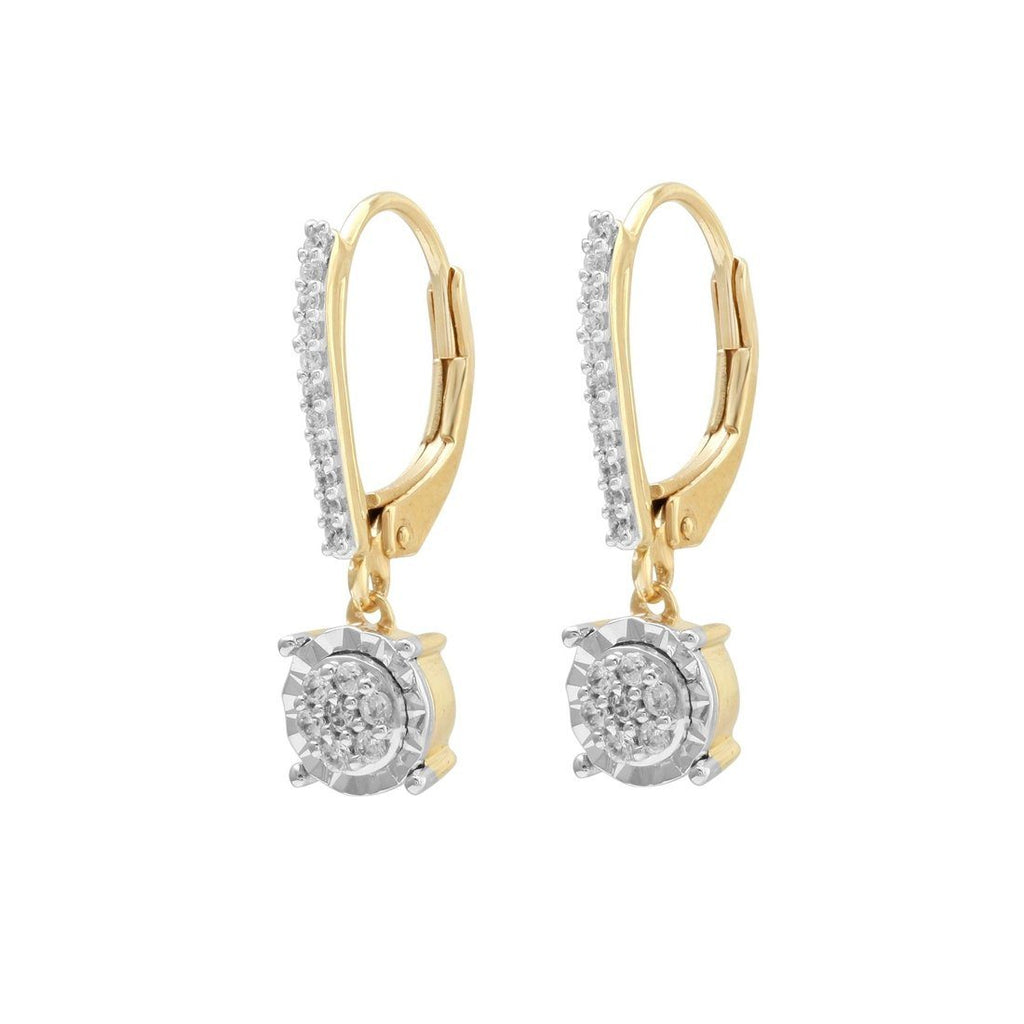 9ct Yellow Gold 0.20ct Diamond Miracle Drop Earrings Earrings Bevilles