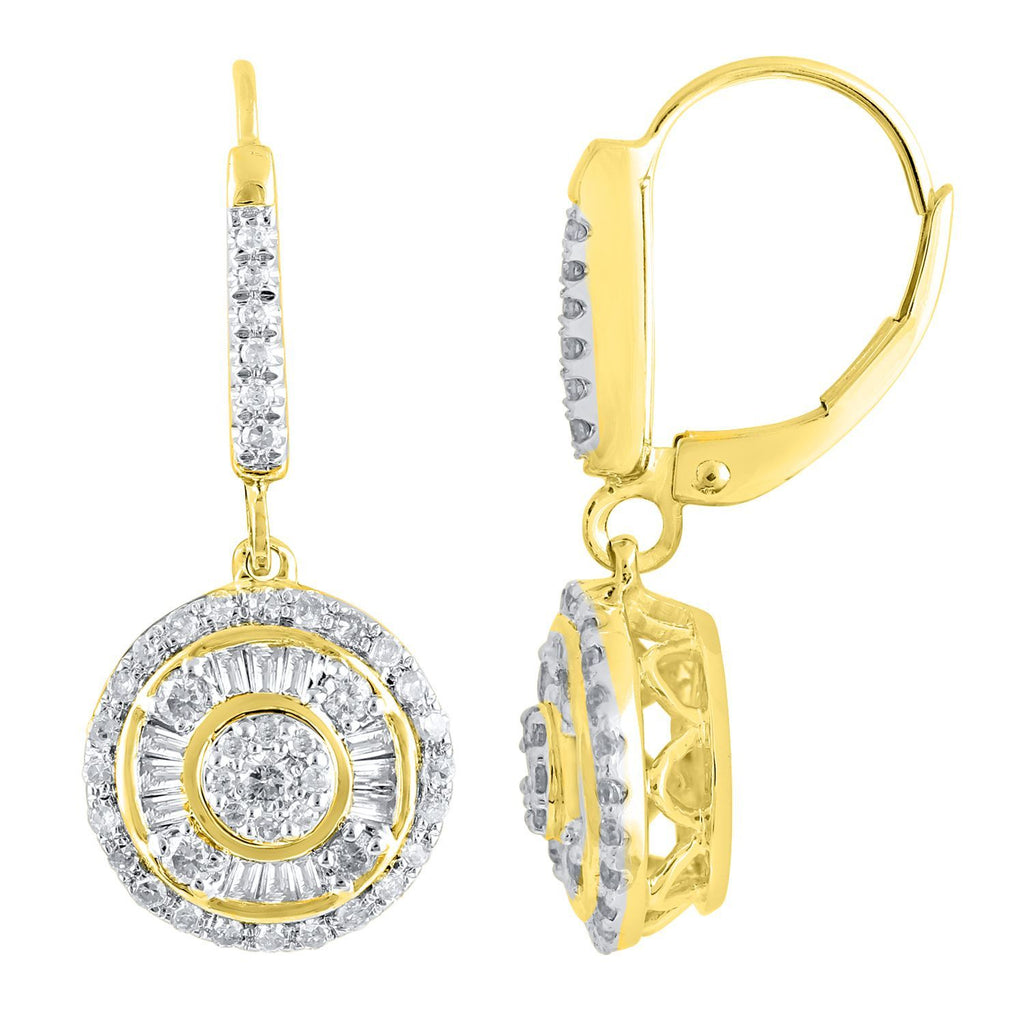 Baguette Drop Earrings with 0.70ct of Diamonds in 9ct Yellow Gold Earrings Bevilles