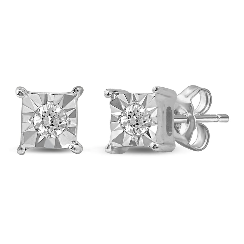 Diamond Square Look Earrings in 10ct White Gold Earrings Bevilles