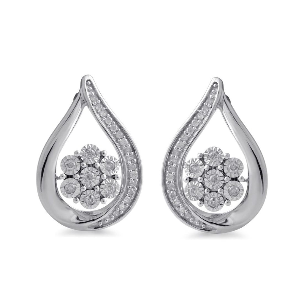 9ct White Gold Miracle Flower Swirl Diamond Earrings Earrings Bevilles