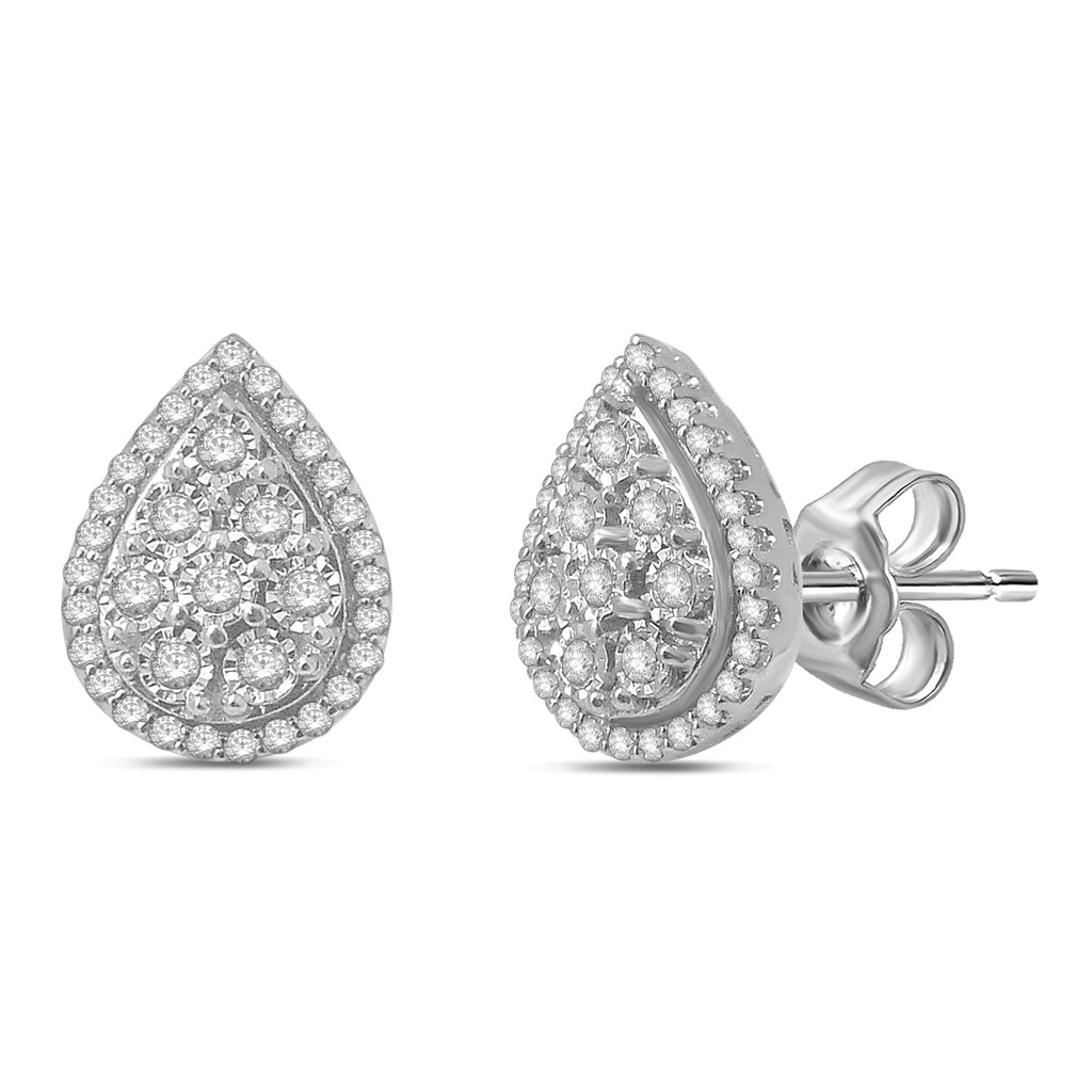 Miracle Pear Halo Earrings with 1/4ct of Diamonds 9ct White Gold Earrings Bevilles