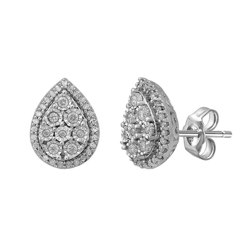 9ct White Gold 0.25ct Diamond Pear Miracle Set Halo Stud Earrings