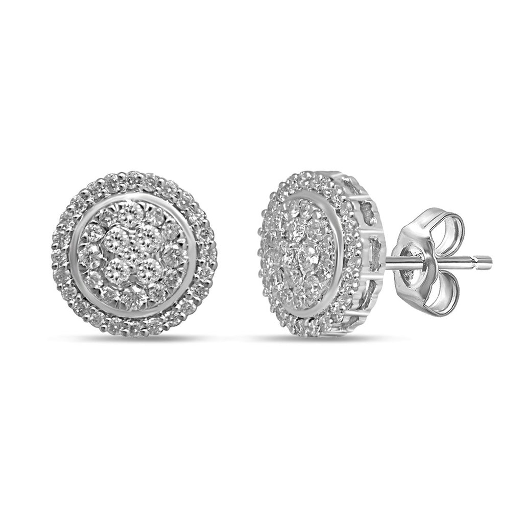 9ct White Gold 1/2ct Diamond Stud Earrings Earrings Bevilles
