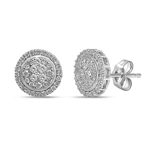 9ct White Gold 1/2ct Diamond Stud Earrings
