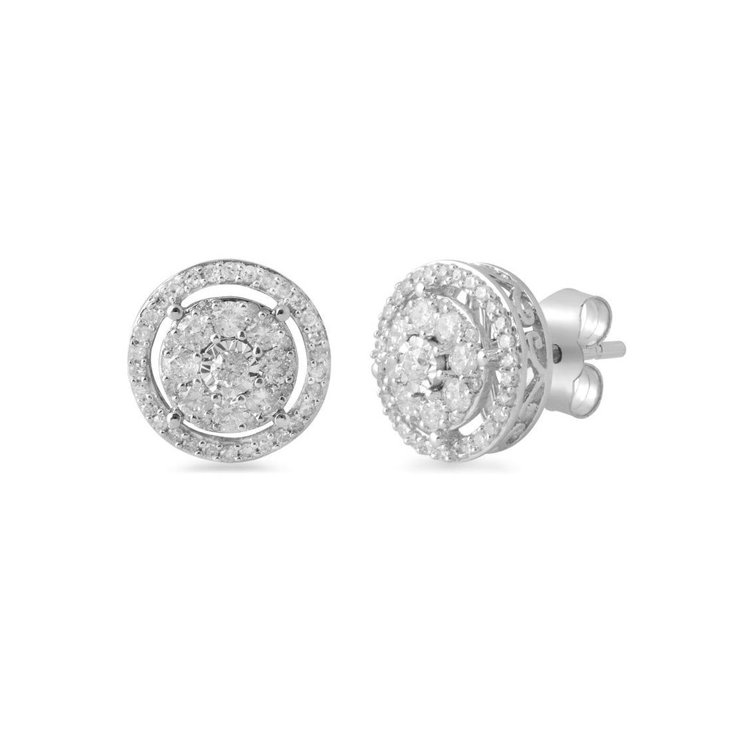 Brilliant Illusion Halo Earrings with 1/2ct of Diamonds in 9ct White Gold Earrings Bevilles