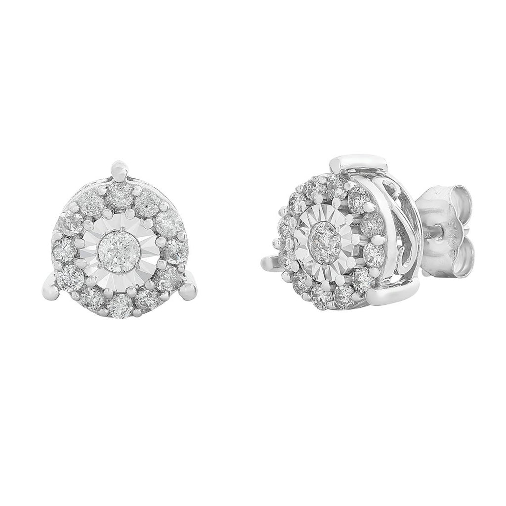 Brilliant Halo Stud Earrings with 1/2ct of Diamonds in 10ct White Gold Earrings Bevilles