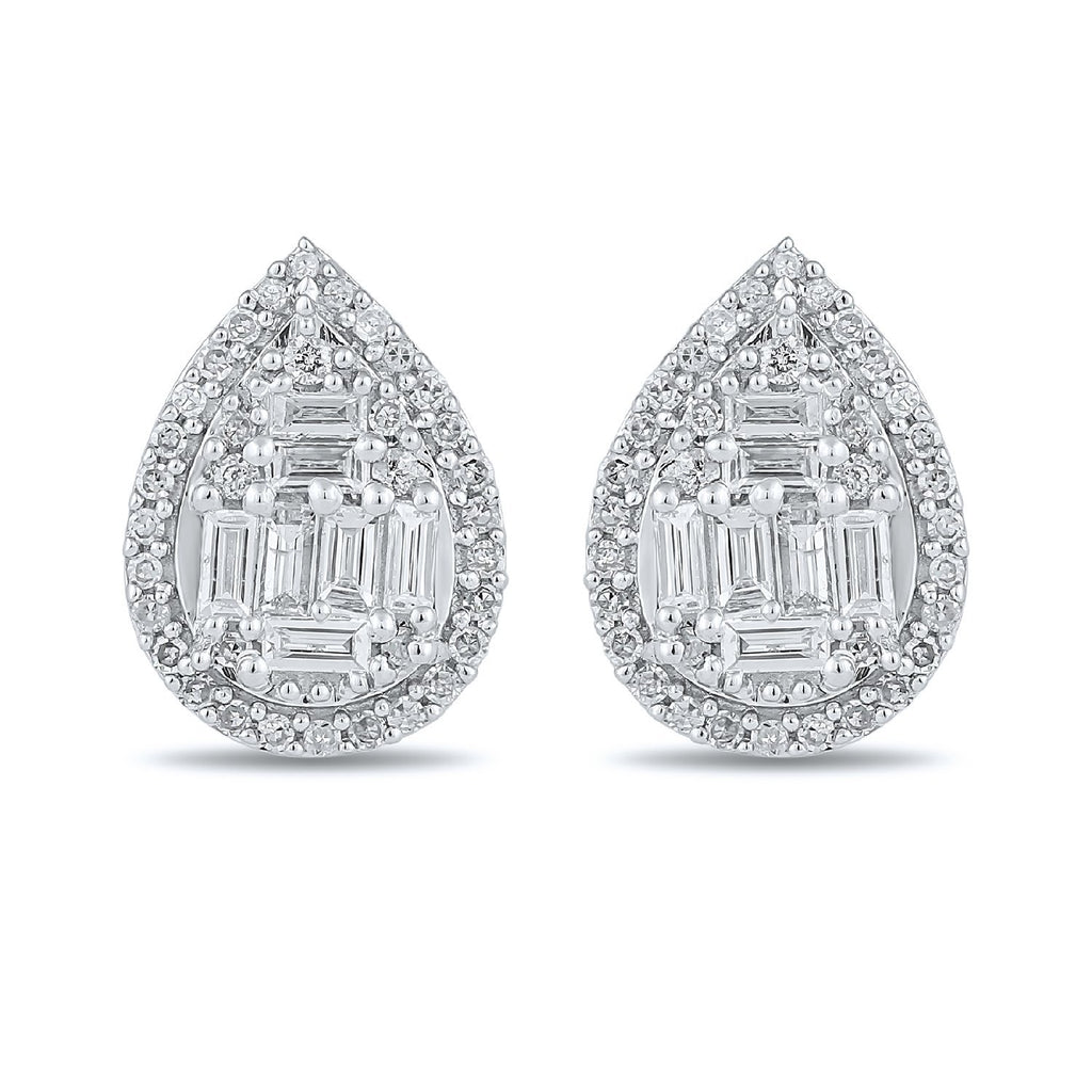 Pear Halo Stud Earrings with 1/2ct of Diamonds in 9ct White Gold Earrings Bevilles