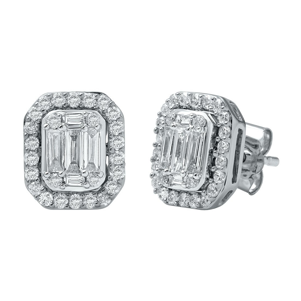 Brilliant Emerald Stud Earrings with 3/4ct of Diamonds in 9ct White Gold Earrings Bevilles
