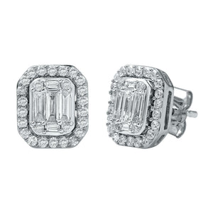 Brilliant Emerald Stud Earrings with 3/4ct of Diamonds in 9ct White Gold