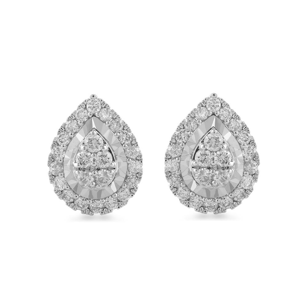 Brilliant Claw Pear Shape Stud Earrings with 1.00ct of Diamonds in 9ct White Gold Earrings Bevilles