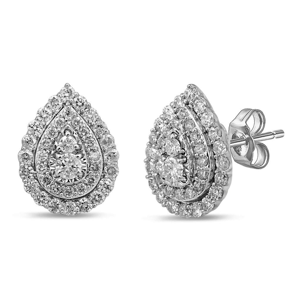 Brilliant Claw Pear shaped stud earrings with 1.00ct of Diamonds in 9ct White Gold Bevilles Jewellers