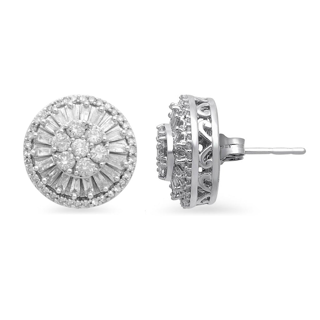 Brilliant Baguette Surround Stud Earrings with 1.00ct of Diamonds in 9ct White Gold Earrings Bevilles
