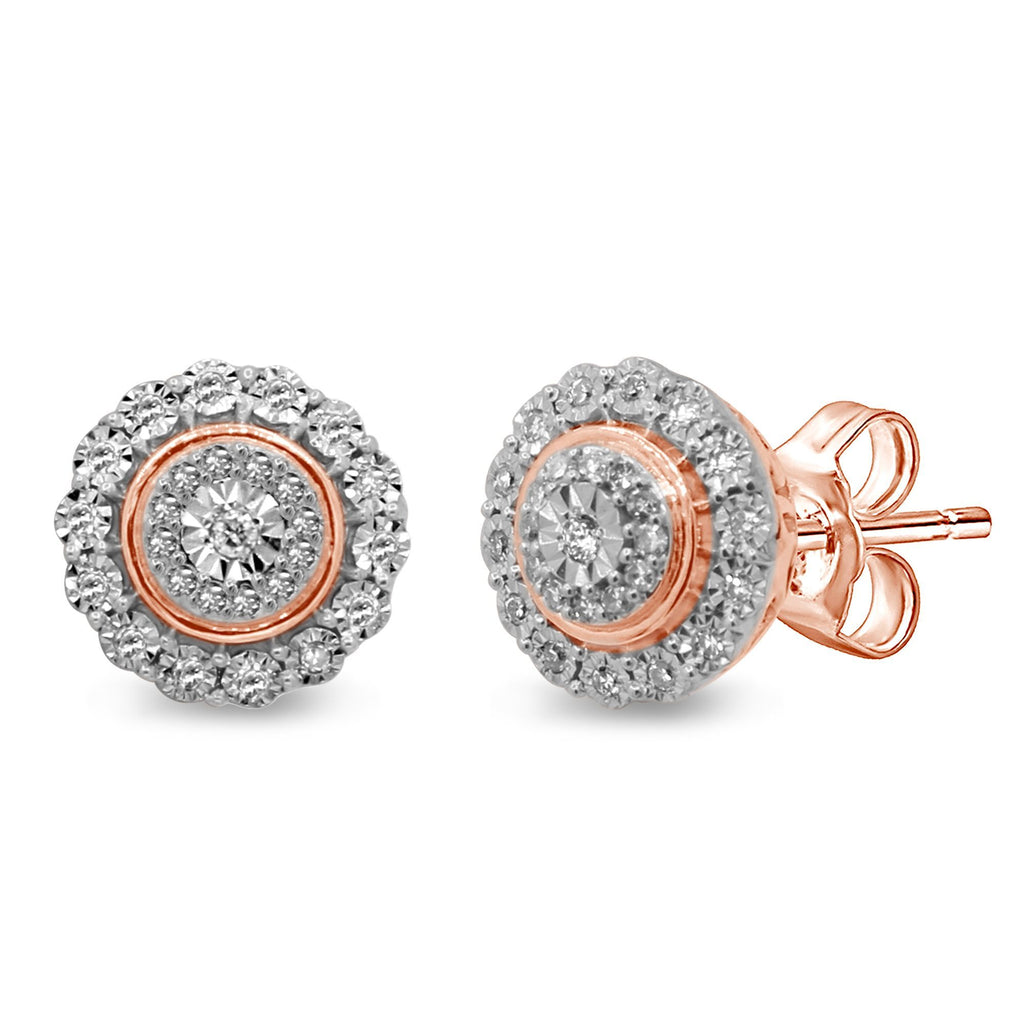 Miracle Halo Earrings with 1/5ct of Diamonds in 9ct Rose Gold Earrings Bevilles