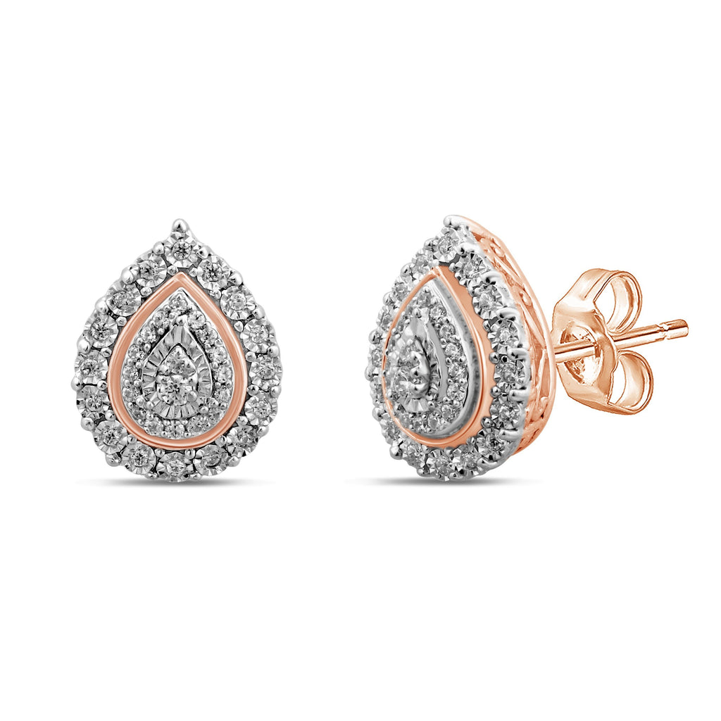 Double Pear Halo Stud Earrings with 1/5ct of Diamonds in 9ct Rose Gold Earrings Bevilles