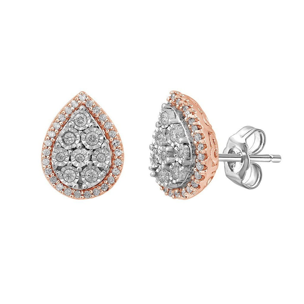 9ct White & Rose Gold 0.25ct Diamond Pear Miracle Set Halo Stud Earrings Earrings Bevilles