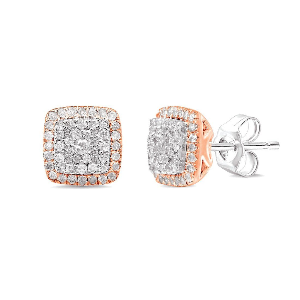 9ct White and Rose Gold 0.50ct Diamond Square Set Stud Earrings Earrings Bevilles