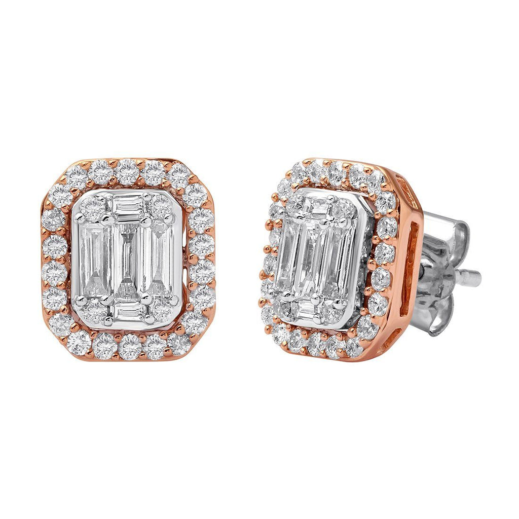 Emerald Shape Earrings with 3/4ct of Diamonds in 9ct White & Rose Gold Earrings Bevilles