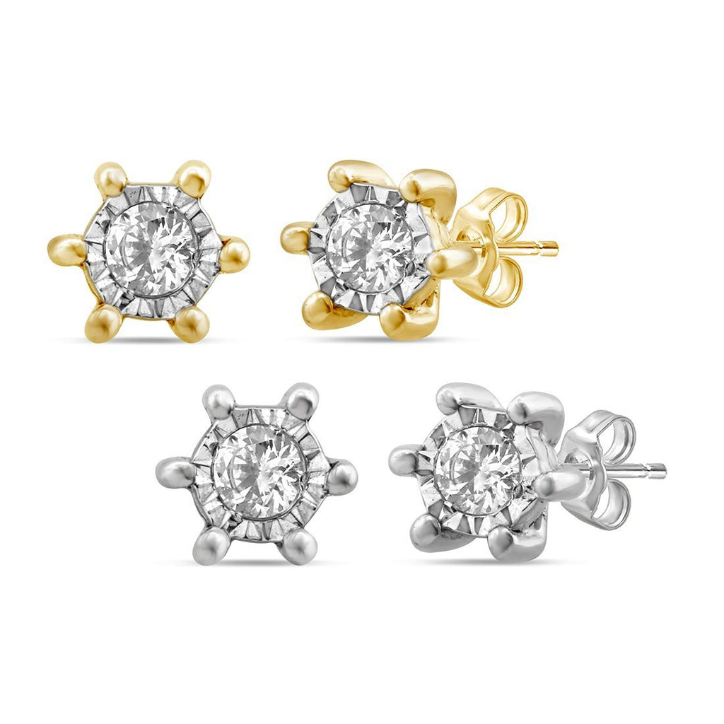 Diamond Set Miracle Surround Stud Earring Set in 9ct Yellow Gold and 9ct White Gold Earrings Bevilles