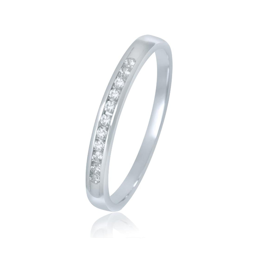 9ct White Gold Diamond Channel Ring