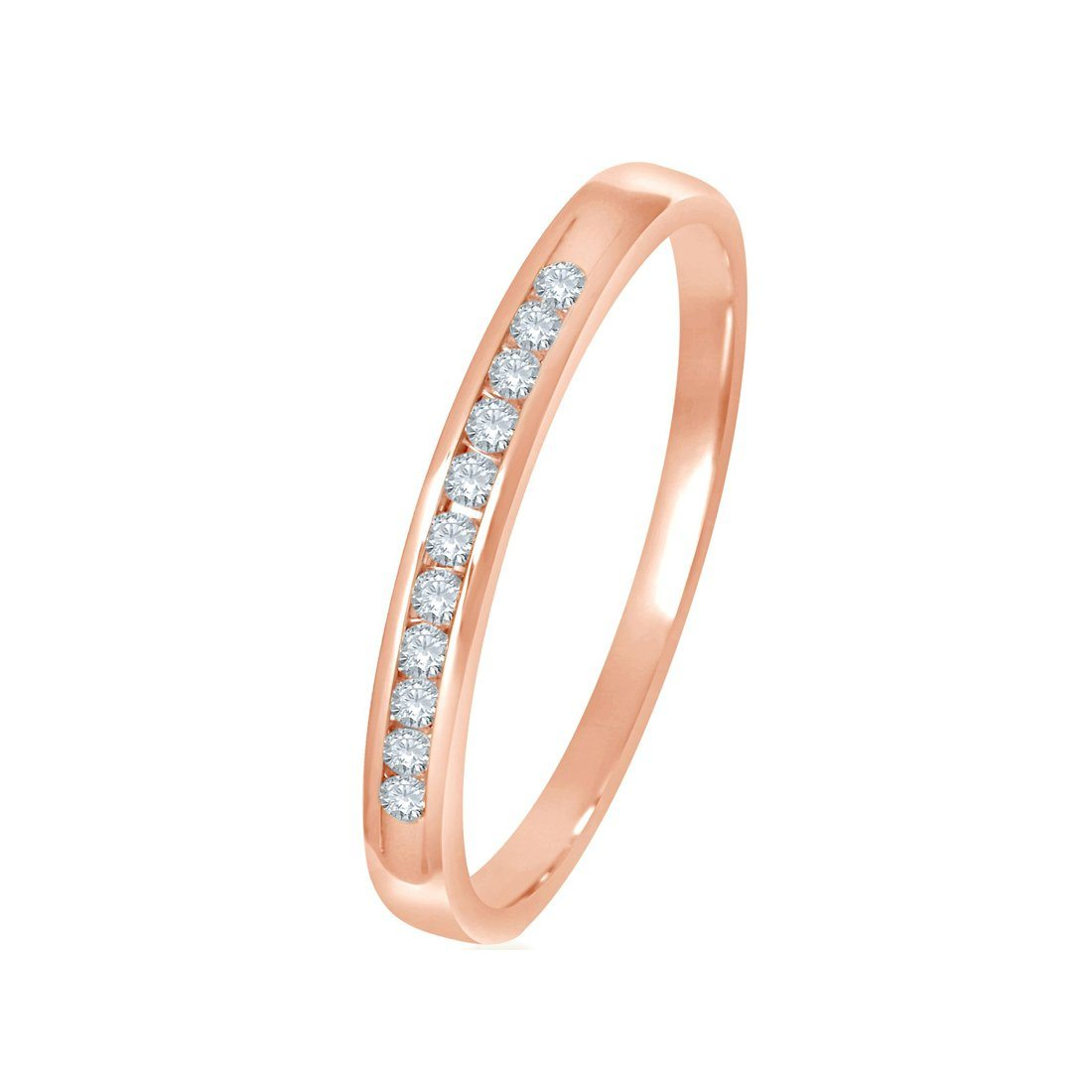 9ct Rose Gold 0 10ct Diamond Channel Ring Gold Engagement Rings Bevilles Jewellers