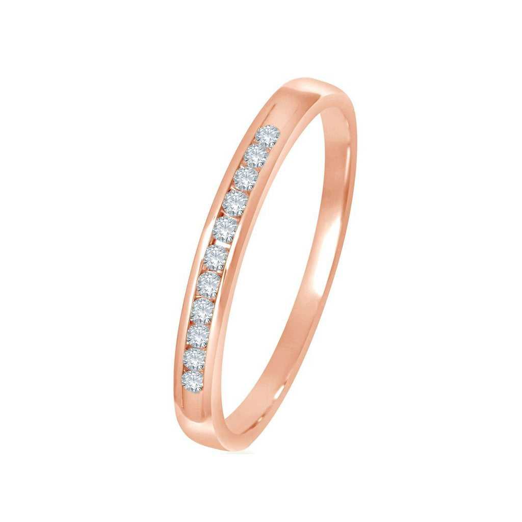 9ct Rose Gold 0.10ct Diamond Channel Ring Rings Bevilles